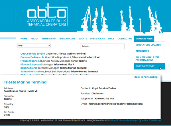 ABTO Members - Directory of Ports