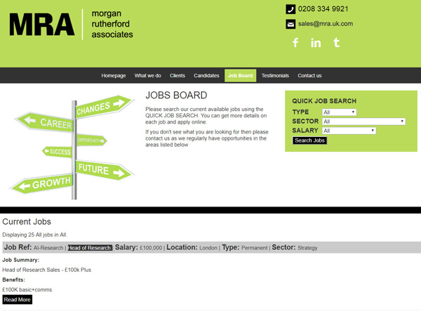 MRA Recruitment - Jobs Functonality