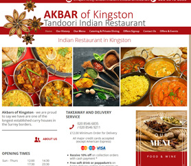 Akbar Indian Restaurant Website Screenshot