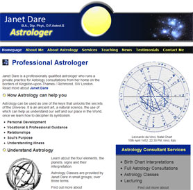 Janet Dare Astology Website Screenshot