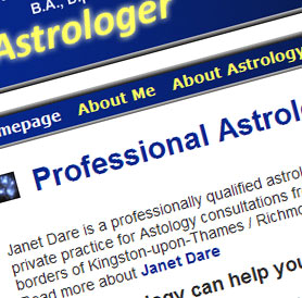 Janet Dare Astrology Website Screenshot